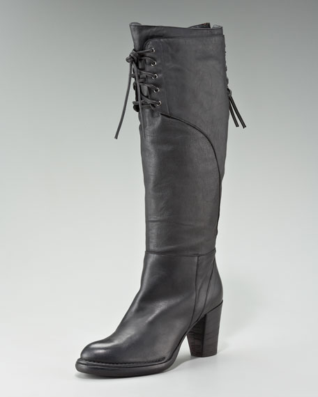 Lace-Detail Knee Boot