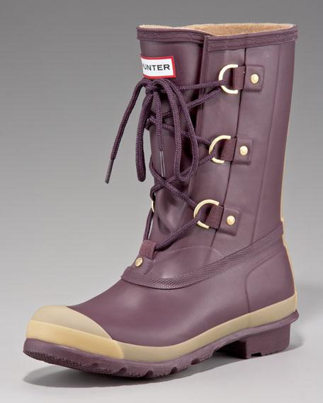 Lace-Up Short Rain Boot