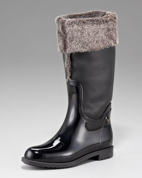 Faux-Shearling-Shaft Rain Boot