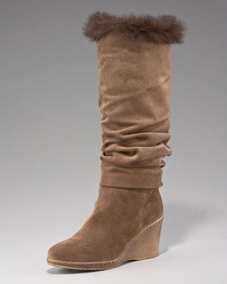 Fur-Trim Wedge Boot