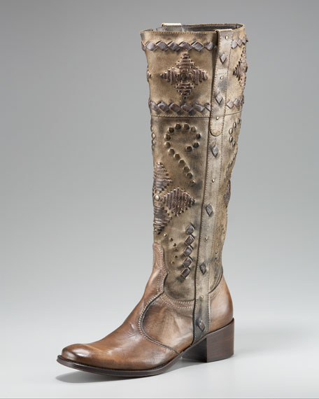 Studded Topstitched Boot