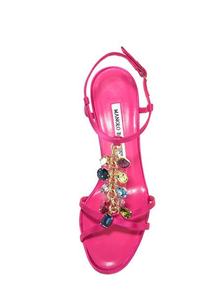 Satin Crystal-Strap Sandal, Fuchsia