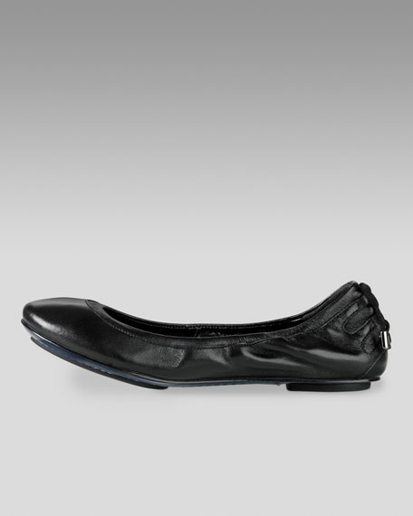 Air Bacara Leather Ballerina, Black