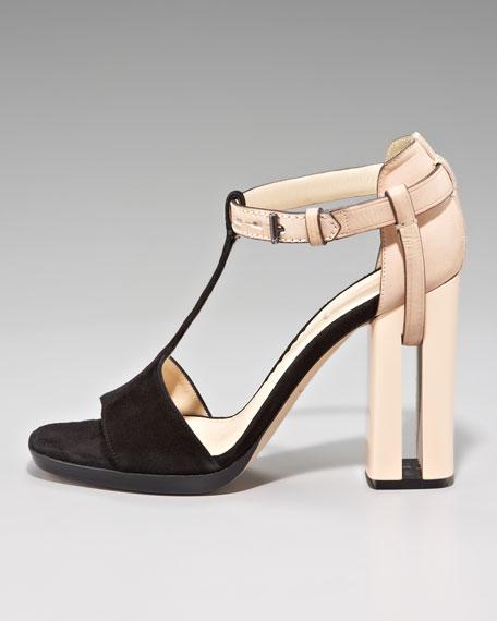 Slotted-Heel T-Strap Sandal