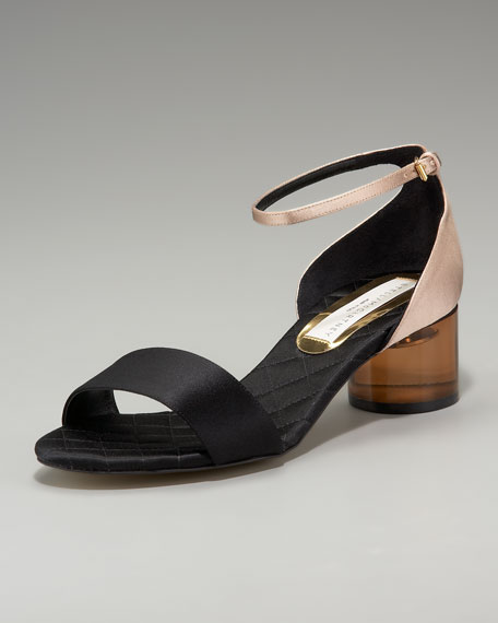 Low Acrylic-Heel Colorblock Sandal
