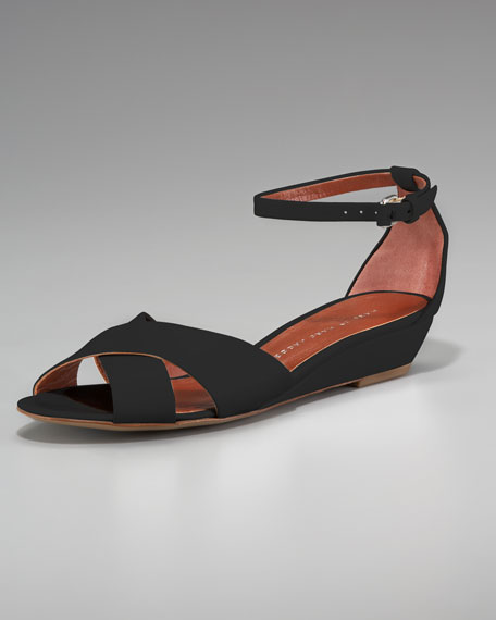 Low-Wedge Ankle-Wrap Sandal