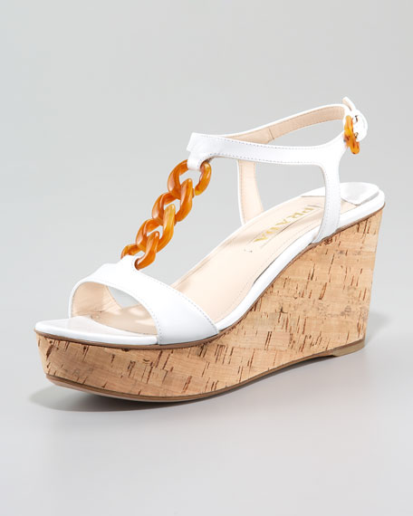 Chain Link Patent Leather Wedge Sandal