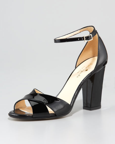 isabel crisscross patent sandal