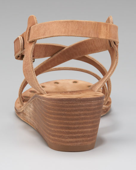 Distressed Low-Wedge Sandal