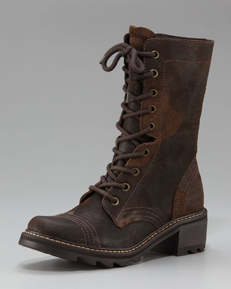 Distressed Suede Lace-Up Boot