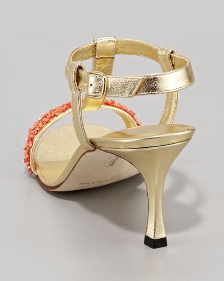 Gavicoral Coral-Beaded T-Strap Sandal