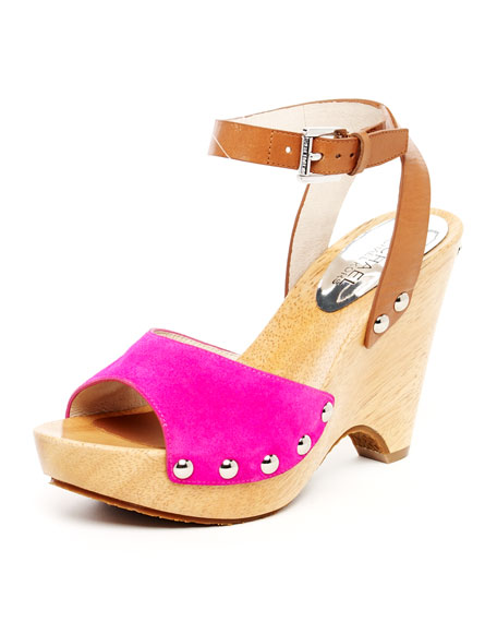 Easton Suede Ankle-Strap Sandal, Luggage or Lacquer Pink