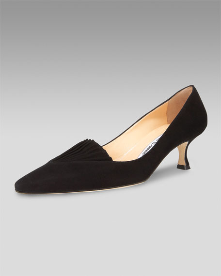 Pleated-Vamp Suede Pump