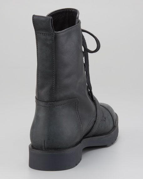 Daria Distressed Leather Combat Boot