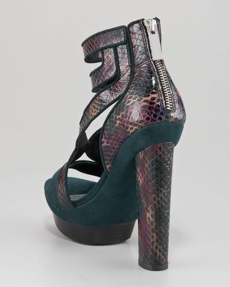 Payton Snakeskin-Suede Sandal