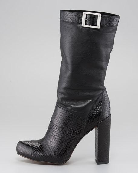 Claudia Snakeskin-Napa Slouch Boot