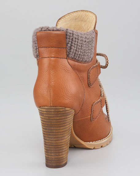Knit-Cuff Lace-Up Bootie