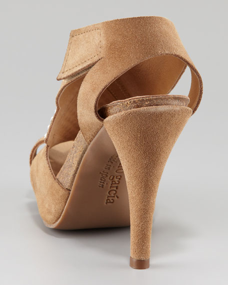 Penelope Rhinestone-Accent Suede Sandal