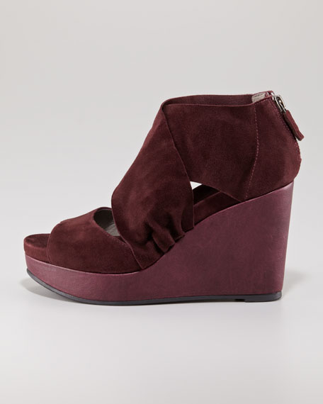 Draped Crossover Suede Sandal