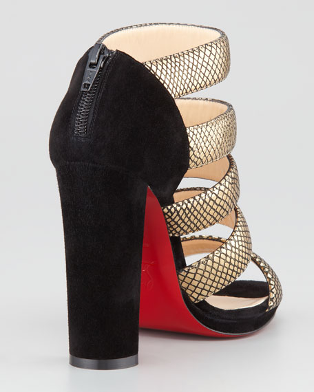 Mehari Snake-Print Suede Red Sole Bootie