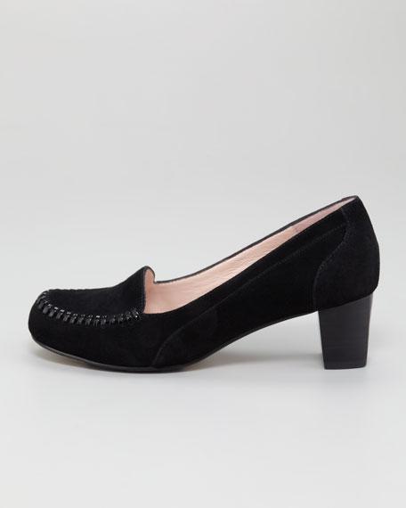Joy Topstitched Low-Heel Loafer