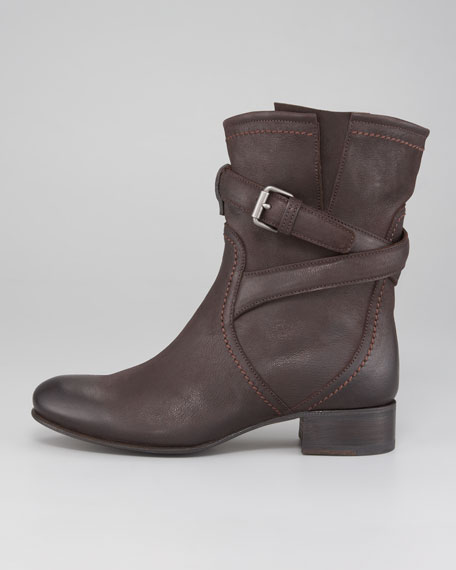 Distressed Leather Buckle-Strap Boot