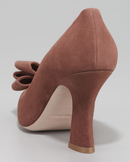 Bow Peep-Toe Suede Pump
