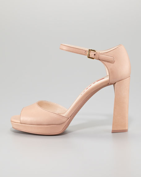 Leather Peep-Toe Ankle-Strap Sandal