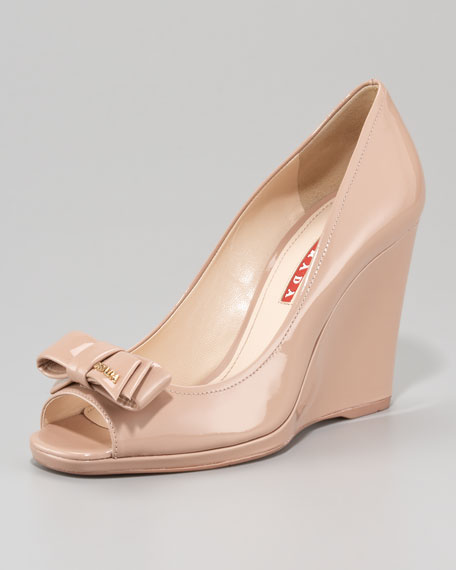 Patent Leather Peep-Toe Bow Wedge