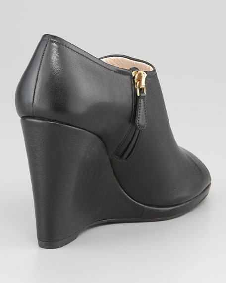 Leather Peep-Toe Platform Wedge Bootie
