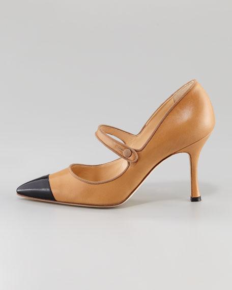 Camparicap Leather/Patent Cap-Toe Mary Jane