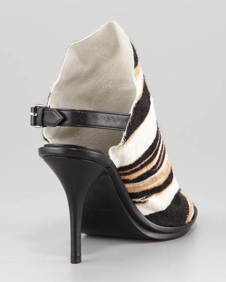 Diagonal Striped Calf Hair Glove Sandal