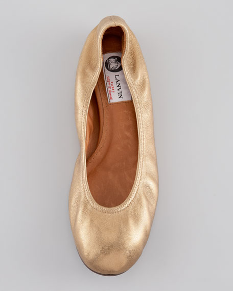 Metallic Sheepskin Ballerina