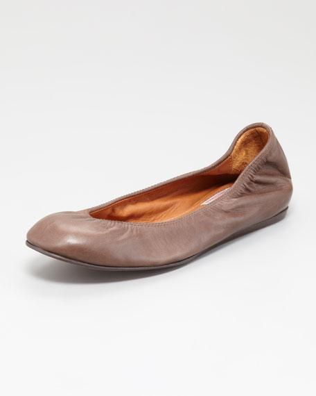 Scrunched Calfskin Ballerina Flat