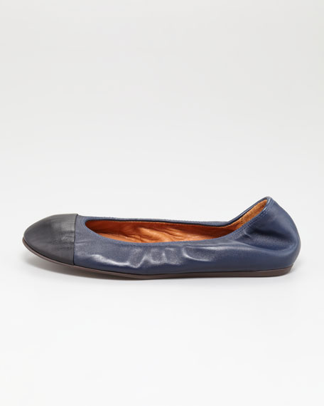 Lanvin Cap-Toe Scrunched Lambskin Ballerina Flat