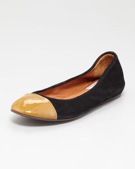 Cap-Toe Scrunched Suede Ballerina Flat