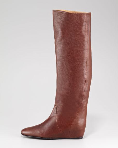 Leather Hidden Wedge Boot