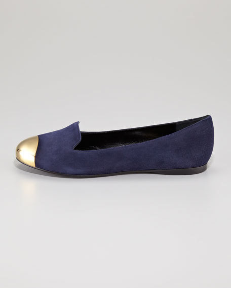 Metallic Cap-Toe Suede Loafer