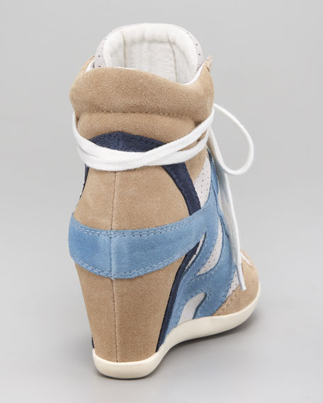 Colorblock Suede Wedge Sneaker