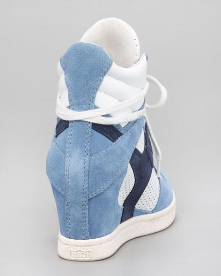 Perforated Suede Wedge Sneaker