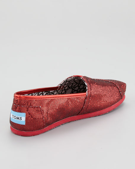 Glitter Flat Slip-On, Red
