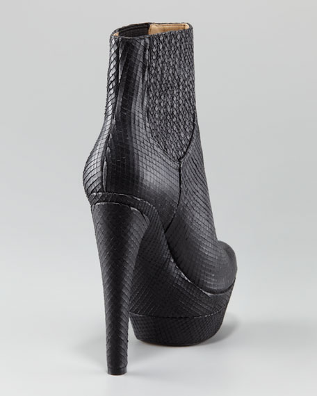 Audrey Lizard-Embossed Ankle Boot