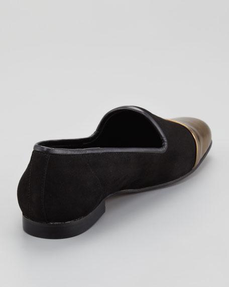 Premier Metallic Cap-Toe Suede Smoking Slipper