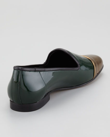 Premier Metallic Cap-Toe Patent Leather Smoking Slipper
