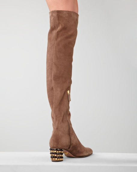 Bejeweled Heel Over-the-Knee Boot