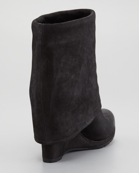 Suede Fold-Over Wedge Bootie
