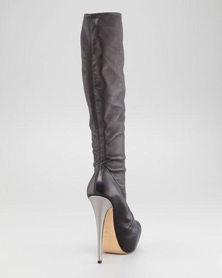 Cap-Toe Leather Knee Boot