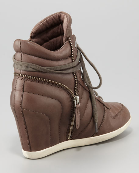 Quilted Leather Wedge Sneaker