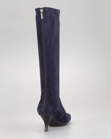 Mona Stretch Suede Back-Zip Boot