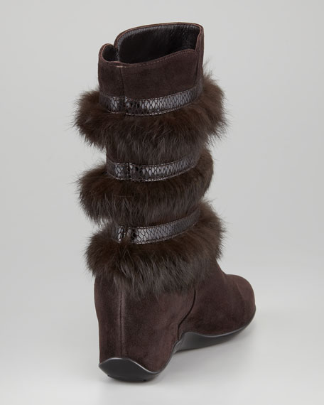 Vivid Rabbit-Trimmed Weatherproof Boot